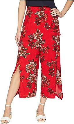 Slit Front Floral Pants