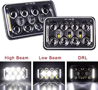 Fannuo Rectangle 4x6 Led Headlights Sealed Beam Led Headlights with High Low Beam Replacement H4651 H4652 H4656 H4666 H6545 Kenworth Peterbil Freightinger 1 Pair