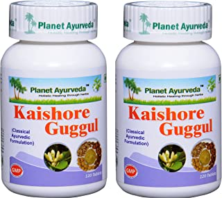 Planet Ayurveda Kaishore Guggul - Herbal Tablets, 100% Natural - 2 Bottles (Each Bottle Contains 120 Tablets)