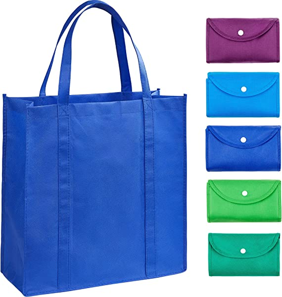EXOBEST Grocery Bags Reusable Foldable For Shopping Set Of 5 Foldable Into Pouch Extra Large Durable Heavy Duty Shopping Totes Washable Long Handles Eco Friendly Reusable Shopping Bags