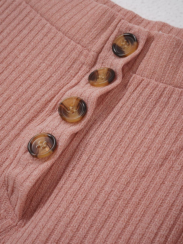 Hularka Women's Knit 2 Piece Set ide Leg Pants Suit Tube Top Buttons Cardigan Top+Pants Suits Casual Long Pants