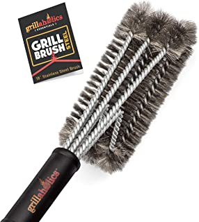 Grillaholics Essentials Grill Brush Steel - Triple Machine Tested for Safety - Stainless Steel Wire Grill Brush for Deep G...