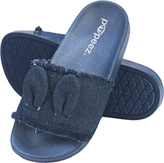 Pupeez Girl's Sandals Open Toe Slide Denim Slipper