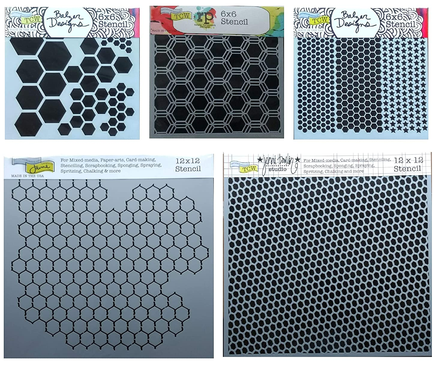 5 Mixed Media Stencils | Hexagon, Honeycomb, Chicken Wire, Fish Net, Punchinella Stencil Set | Templates for Arts, Card Making, Journaling, Scrapbooking | by Crafters Workshop