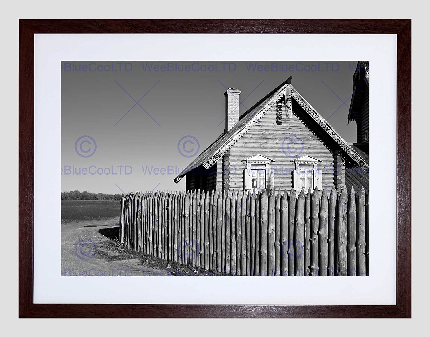 Wooden House Log Cabin Fence Black White Picture Framed Art Print Amazon Ca Home Kitchen