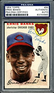 Ernie Banks Autographed 1954 Topps Rookie Card #94 Chicago Cubs Vintage Rookie Era Signature #83744665 - PSA/DNA Certified