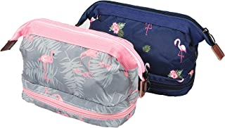 BAGOOE Handy Travel Cosmetic Makeup Clutch Bag Case Pouch Nylon Zipper Carry On Bag Various Colors for Women Men Girls, Set3#Double Flamingo