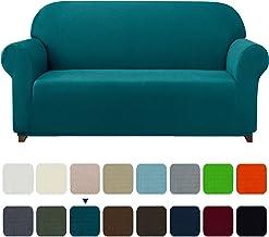 Subrtex 1-Piece Plaid Jacquard Stretch Couch Slipcovers, Sofa, Blue