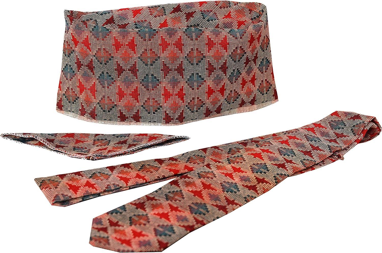 Nepali Handmade Cotton Dhaka Topi, with Tie & Pocket Square Set