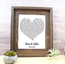 1st Anniversary Gift for Him or her Personalized First Year Paper Anniversary Gift lyrics first dance song, your own words, present wife unique