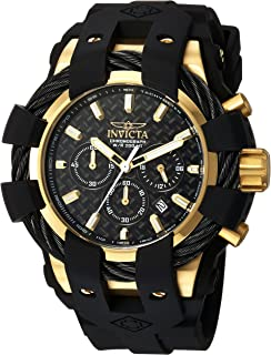 Men's Bolt Stainless Steel Quartz Watch with Silicone Strap, Black, 26 (Model: 23861)