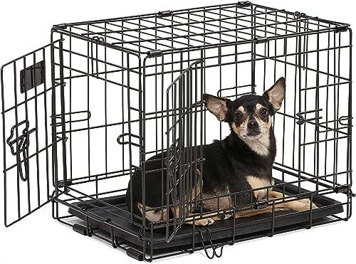 Dog Crate | Midwest iCrate XXS Double Door Folding Metal Dog Crate w/Divider Panel, Floor Protecting Feet & Leak-Proo...