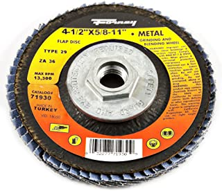 Forney 71932 Flap Disc, Type 29 Blue Zirconia with 5/8-Inch-11 Threaded Arbor, 80-Grit, 4-1/2-Inch