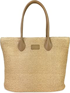 Hoxis Weekender Lightweight Synthetic Straw Shopper Tote Womens Shoulder Handbag