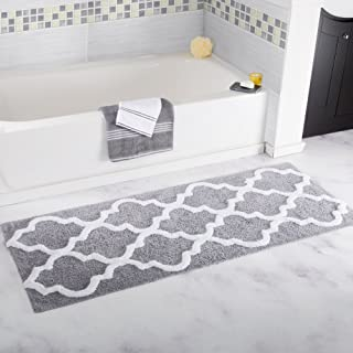 Lavish Home 100% Cotton Trellis Bathroom Mat - 24x60 inches - Silver