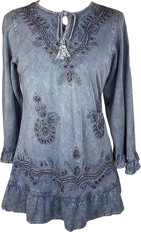 Agan Traders Women's Gypsy Medieval Top Kurta Tunic Ruffle Blous Minneapolis Mall Regular store