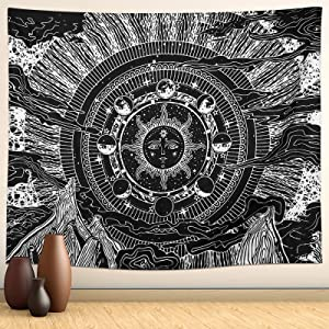 Tapestry Polyester Tapestries Sun and Moon Wall Hanging Tapestry for Living Room, Room Decor, Dormitory Office Wall Art Decoration 51.2x59.1 Inches/130x150 cm (Black)