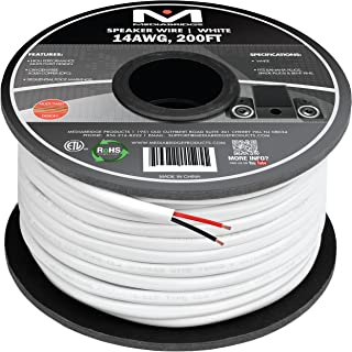 Mediabridge 14AWG 2-Conductor Speaker Wire (200 Feet, White) - 99.9% Oxygen Free Copper – ETL Listed & CL2 Rated for In-Wall Use (Part# SW-14X2-200-WH )