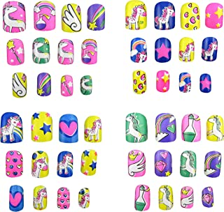 JPACO 4 Pack Unicorn False Nails with Glue (48 Pieces Total) - Fake, Press On, Manicure Decal Wraps Nails for Little Girls, Christmas Gifts