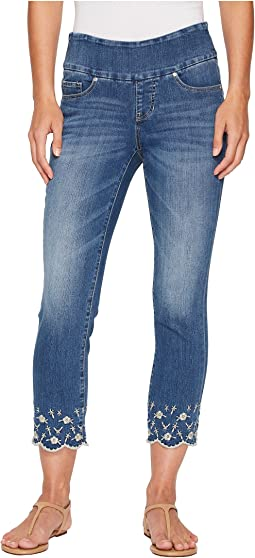 Jag Jeans Lewis Straight Pull-On Ankle w/ Embroidery in Skydive