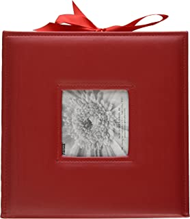 Pioneer Photo Albums 120-Pocket 3-Ring Sewn Leatherette Frame Cover Photo Box for 4 by 6-Inch/5 by 7-Inch/6 by 8-Inch Prints, Red