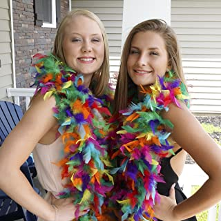 ZUCKER Multi Color Chandelle Feather Boa - 6 Foot Large Dress Up Party Costume Accessory