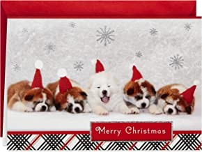 Hallmark Boxed Christmas Cards, Sleepy Puppies (16 Cards and 17 Envelopes)