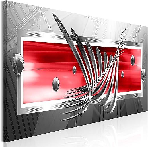 murando – Bilder Abstrakt 120×40 cm Vlies Leinwandbild 1 TLG Kunstdruck modern Wandbilder XXL Wanddekoration Design Wand Bild – grau rot a-A-0344-b-c