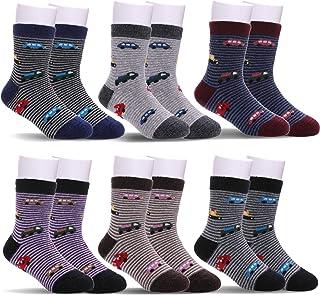 FNOVCO Children's Winter Warm Wool Socks Kids Boys Girls Animal Socks 6 Pairs