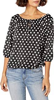 Star Vixen Women's Petite 3/4 Sleeve Tieneck Elasticized Peasant Top