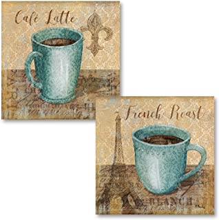 Gango Home Décor Popular Classic Coffee Paris French Roast and Fleur De Lis Cafe Latte; Kitchen Decor; Two 12x12in Poster Prints. Teal/Brown