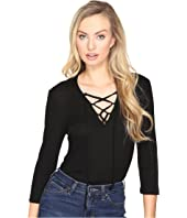 Jack by BB Dakota - Aura Lace-Up Rib Knit Bodysuit
