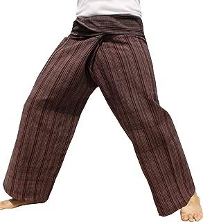 RaanPahMuang 手工织造木制泰国织布机天然棉渔夫裤