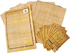 CraftsOfEgipt - Juego de 10 hojas de papel egipcio (20 x 30 cm), diseño de antiguos alfabetos en papiro, ideal para proyectos de arte, álbumes de recortes e historia escolar. Papel de pergamino perfecto como herramienta pedagógica.