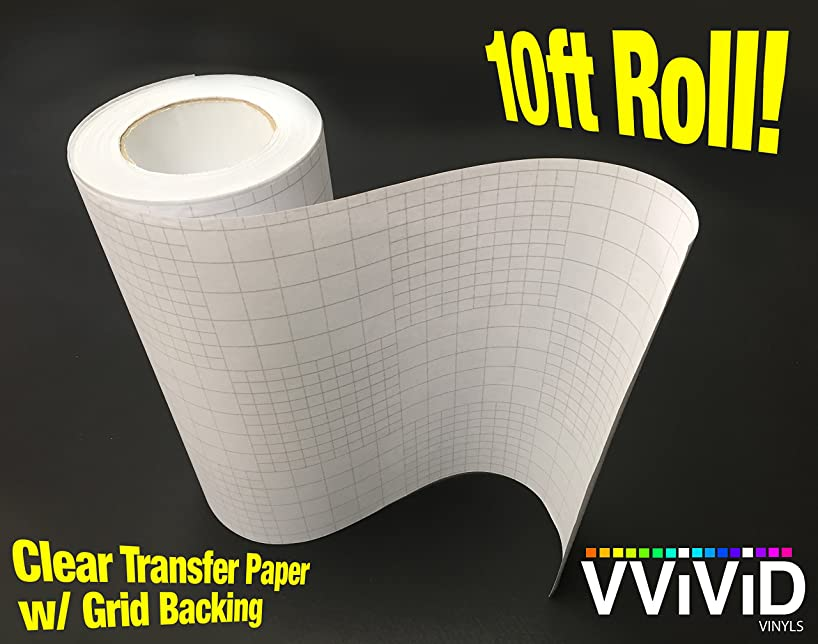 High Gloss Clear Vinyl Transfer Paper Self-Adhesive Roll w/Grid Backing (6