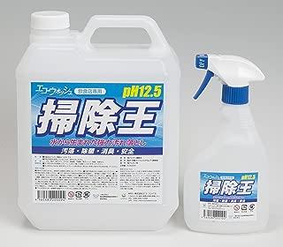 水の強力汚れ落とし/エコ・ウォッシュ[掃除王]/除菌・殺菌/4Lセット/強アルカリ電解水/pH12.5/専用500ml空スプレーボトル付