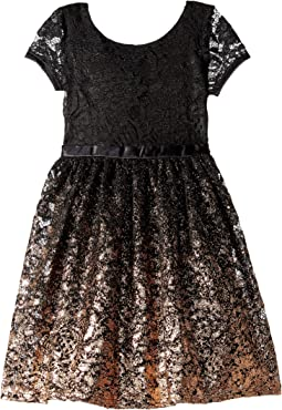 Short Sleeve Fit & Flare Lace Dress with Rose Gold Ombre Skirt (Toddler/Little Kids)