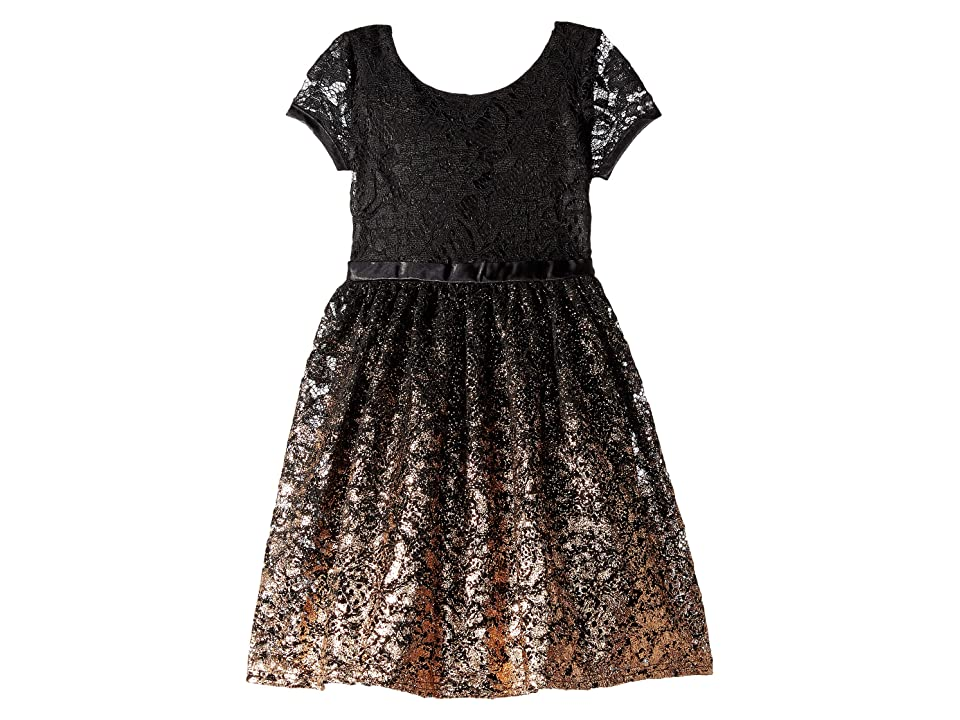 Us Angels Short Sleeve Fit Flare Lace Dress with Rose Gold Ombre Skirt (Toddler/Little Kids) (Black) Girl