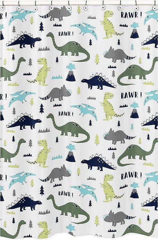 Sweet Jojo Designs Blue And Green Modern Dinosaur Children S Kids Bathroom Fabric Bath Shower Curtain