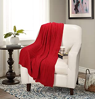 GLAMBURG 100% Cotton Knitted Throw Blanket for Couch Sofa Bed 50x60, All Season Cable Knit Throw Blankets for Baby, Children,Adults - Combed Cotton Cable Knitted Throw Blanket Red