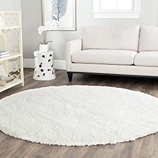 Safavieh California Premium Shag Collection SG151-1010 White Round Area Rug (8'6