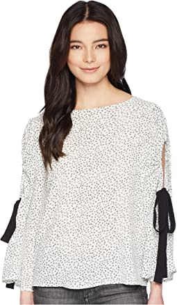 Petite Bell Sleeve Flower Ditsy Tie Cold-Shoulder Blouse