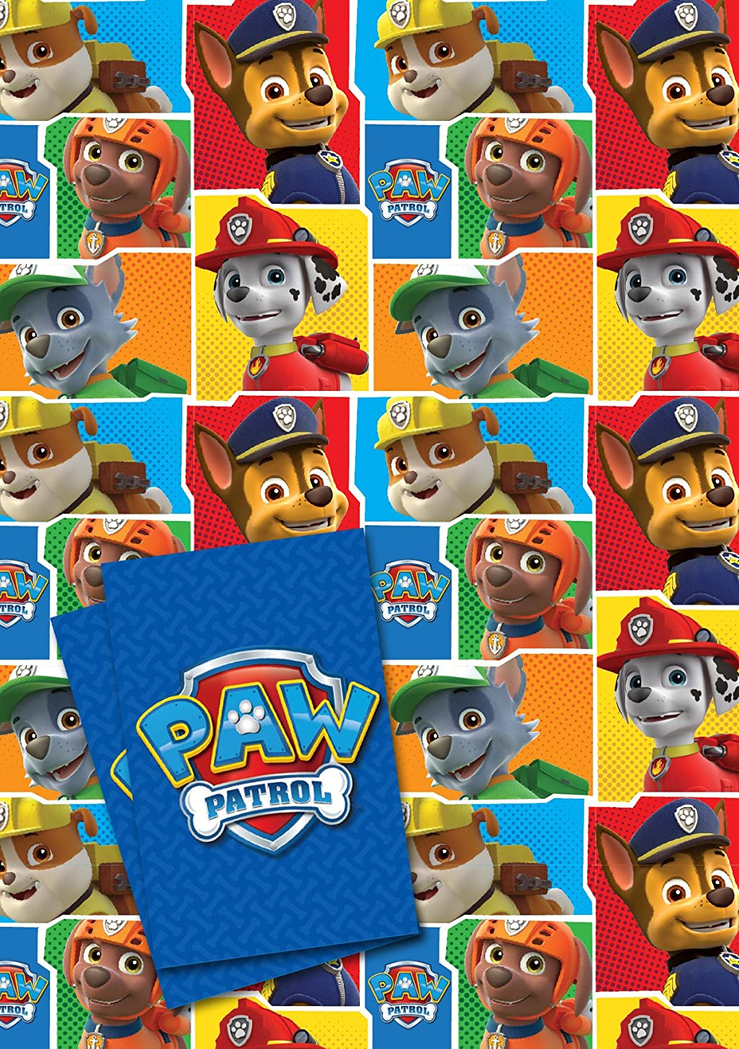 Official Paw Patrol 2 Sheet and 2 tag Gift Wrap Pack