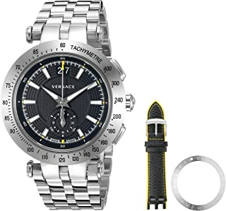 Men's 'V-Race' Swiss Quartz Stainless Steel Casual Watch, Color:Silver-Toned (Model: VAH010016)