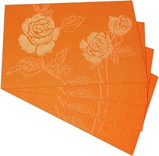 Kitchen PVC Placemats - Dining Room Heat Insulation Stain-resistant Eat Mats for Table - Rectangle Washable Non-slip Decor Jacquard Woven Plastic Vinyl Floral Motif Place Mats,Set of 4,Flower Orange