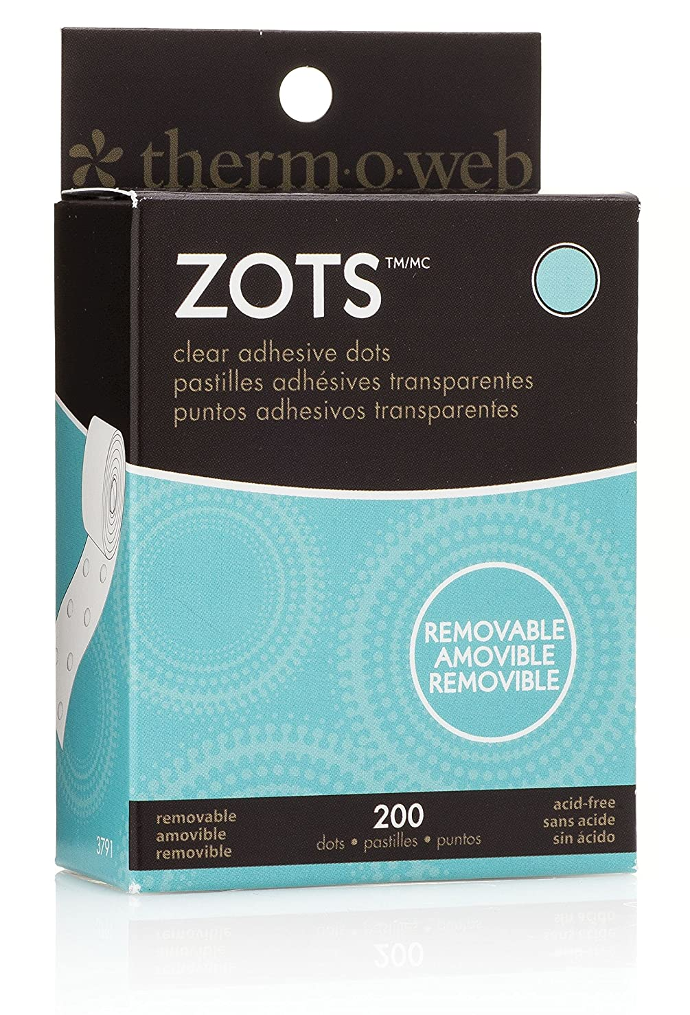 Therm O Web Zots Clear Adhesive Dots, Removable 3/8