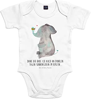 Mr. & Mrs. Panda Mr. & Mrs. Panda Strampler, Baby, 3-6 Monate Baby Body Elefant & Biene mit Spruch - Farbe Transparent