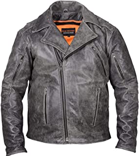 High Milage Mens Motorcycle Heavy Duty Antiqe Distressed Grey Police Style Leather Jacket (3XL Regular)
