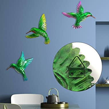 J-Fly Hummingbird Wall Art Décor 9inch Large 3Pack Metal Hand-made Wall Decoration Outdoor Indoor Ornament for Kitchen Living