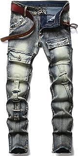 Sponsored Ad - XIMXIMMTIAN Men's Biker Moto Washed Distressed Slim Fit Straight Jeans Denim